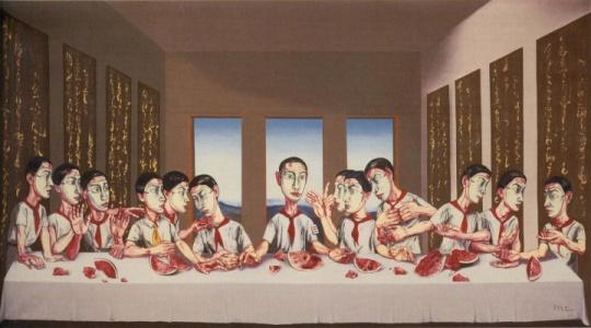 曾梵志《最后的晚餐》,2001年作,油彩画布,220x400公分, 在苏富比进入亚洲40周年晚间拍卖中,这件来自尤伦斯收藏的作品以1.8亿港元成为首件过亿的亚洲当代艺术品,据坊间传说,十年前这件作品仅以3万美元买个比利时收藏家尤伦斯