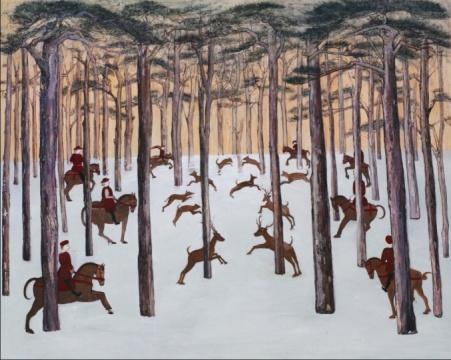 刘玉洁《林中狩猎》布面油画120cmX150cm 2013
