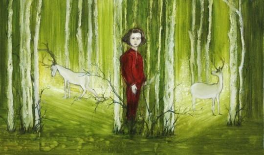 刘玉洁《独唱者》布面油画 100X60cm 2012