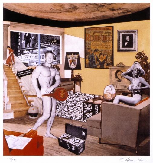 .1992年重制的《是什么使昨天的家庭如此不同,如此迷人》,泰特美术馆藏品 ©Richard Hamilton 2005. All rights reserved, DACS