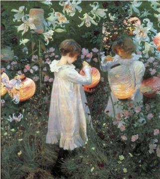 约翰•辛格•萨金特John Singer Sargent(1856—1925)[|《石竹、百合、玫瑰 》1885∼1886年 英國倫敦泰德美術館藏