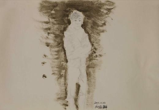 草图10,纸上丙烯和签字笔,26.6x37.8cm,2011