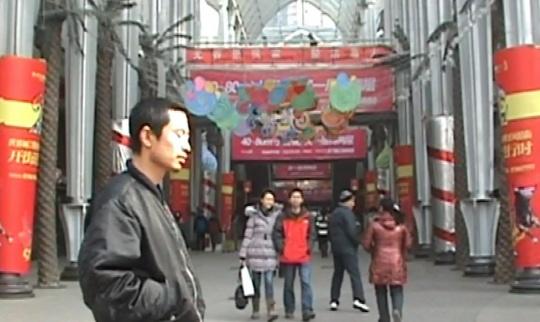 五五画廊带去的李燎的单通道数码录像作品《一记(武汉)》