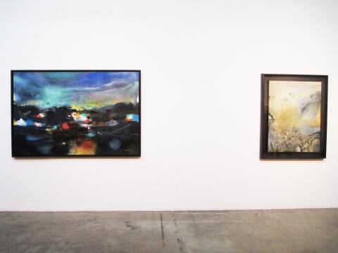 左:朱德群的作品《发光的形式》右:赵无极的作品《28.12.87》