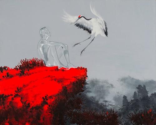 武明中作品里玻璃人与环境色的交换反映了他现阶段的思考