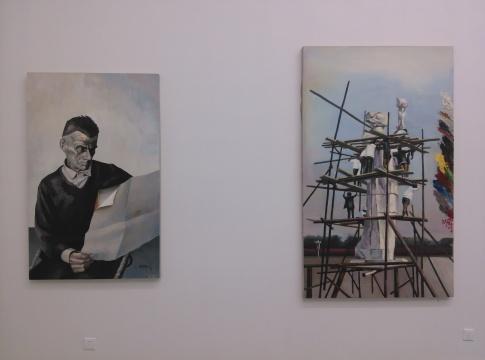 邓猗夫的具象作品《贝克特》、《广场》