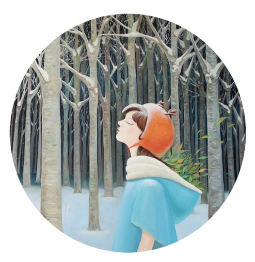 《等待》 Diam.100cm 布面油画 2012