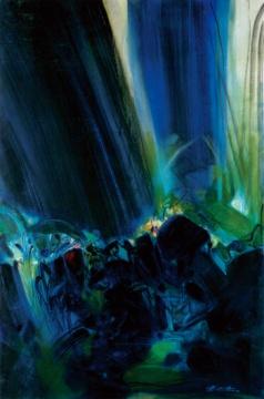拔得全场头筹作品 朱德群 《无题》 油彩 画布 195×130cm 1995