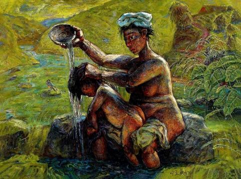 罗中立 《母子》 油彩 画布 118.5×160cm 1997