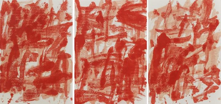 《拉赫马尼诺夫〈第二钢琴协奏曲〉纸上之二十一》,纸上油画,54.6x78.7cmx3,2014