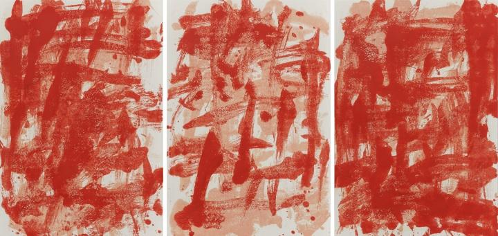 《拉赫马尼诺夫〈第二钢琴协奏曲〉纸上之十七》,纸上油画,54.6x78.7cmx3,2014