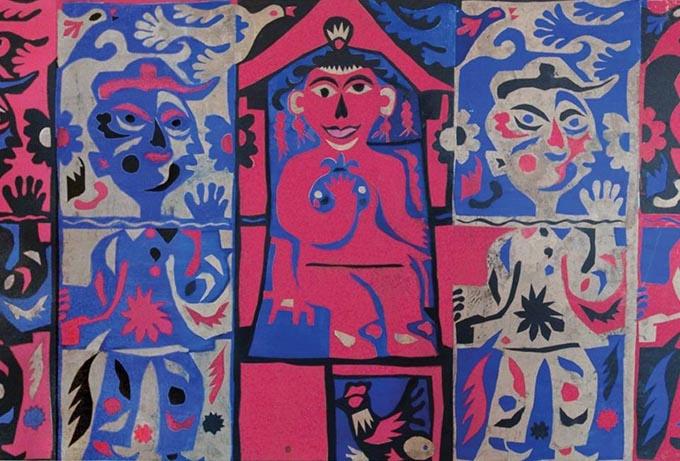 《醒.幻.梦》局部,剪纸、拼贴、三联画,1985年