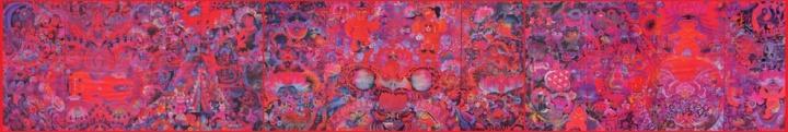 《生命——瞬间与永恒》(研究生毕业创作),作品宽11米,纸本绘画,1987年