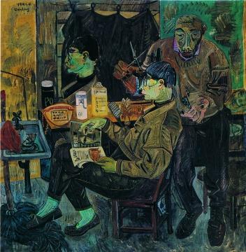 《发廊系列之2》 180x180cm 布面油画 1991