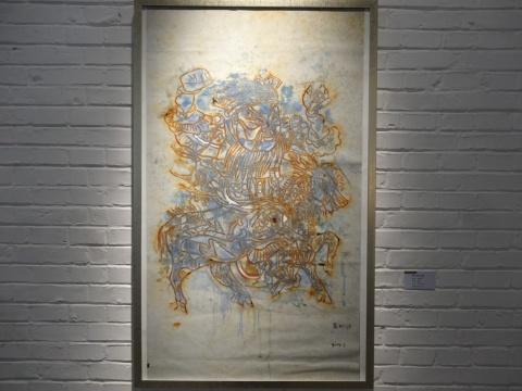 张树功《新门神—红线》73x120cm 纸本 2014