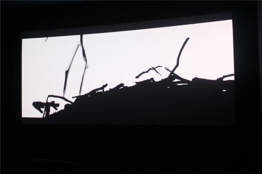 """杨国辛创作于2013-2014年的视频《无喻》,在影像馆的""""小影院""""循环放映。"""