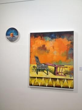 《女神》 直径40cm 布面油画 2013;《自赏派 我血腥的情人节》 150×120cm 2014