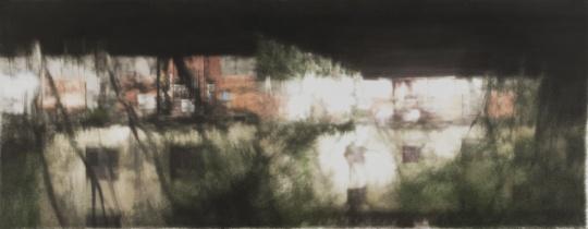 康海涛《镜中》,纸本丙烯2013年 如何精简今天日趋繁多的资讯与社交,如何真正做到专注、内修将是真正成就伟大的年轻艺术的重要课题。身居重庆的韦嘉、绵阳的康海涛在艺术家中显得另类而沉稳有成。