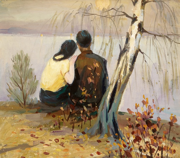 顾寄徐 《夕阳下的情侣》 35×39cm 纸上水粉 1980年代