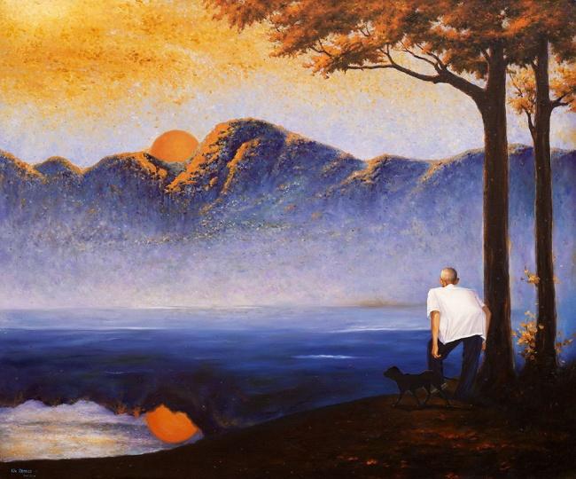刘仁涛 《新艺术的故事 — 落日下的老关》 140x170cm 画布油画 2006