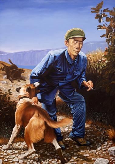 刘仁涛 《新的艺术故事 — 失盲的老关》180×125cm 画布油画 2006