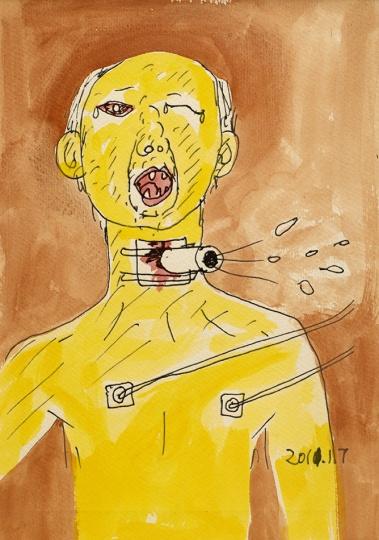温凌 《切气管后的爸爸 No.1》 26x19cm 纸上喷墨打印和水彩 2012