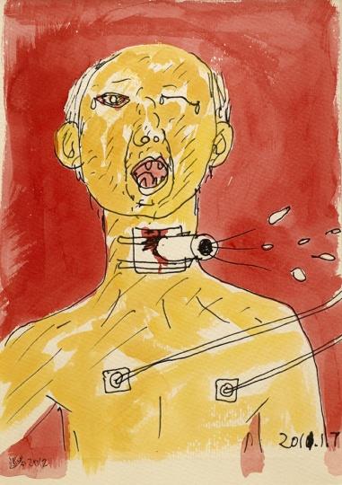 温凌 《切气管后的爸爸 No.2》 26x19cm 纸上喷墨打印和水彩 2012