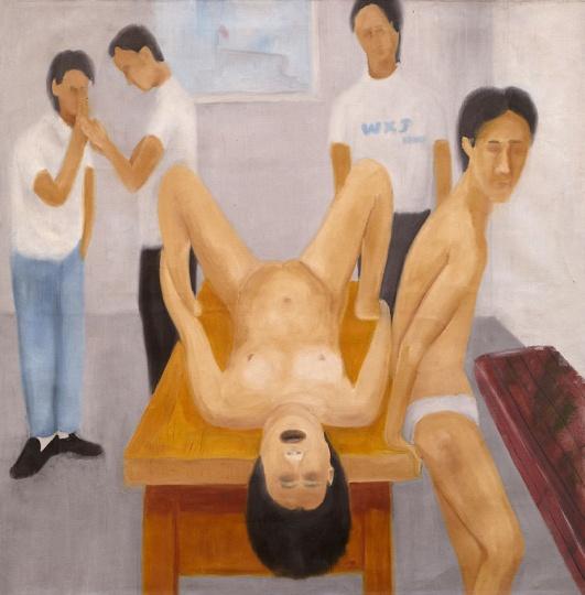 王兴杰 《课余》 80x80cm 画布油画 2002