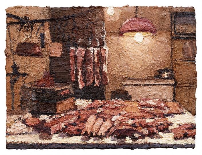 张业兴 《肉铺》 31x41cm 画布油画 2013