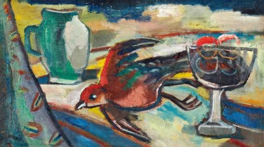 关良创作于70年代的布面油画《雉鸡与果瓶》,成交价345万