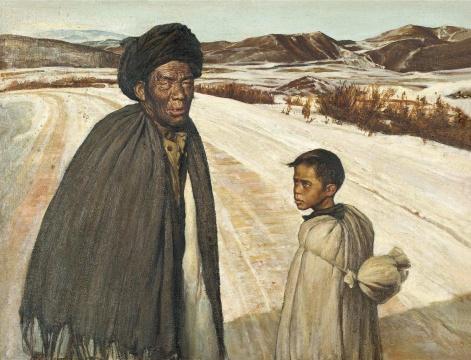 王川作品《老人与小孩》,成交价230万