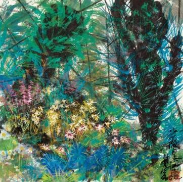 林风眠纸本设色作品《花园一角》,成交价437万