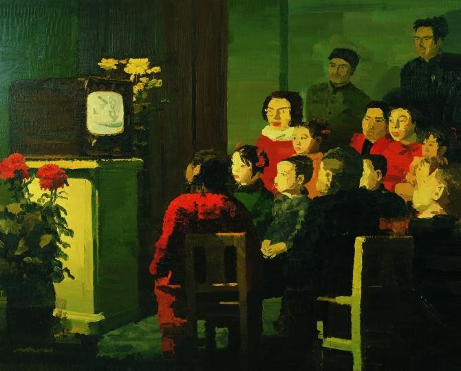 仇晓飞 《看电视》 250×200cm 布面油画 2004