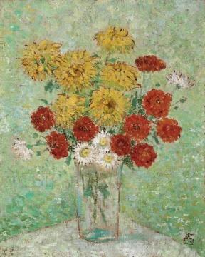 庞薰琹的《秋光情絮》当属该场次为数不多表现亮眼的早期油画作品,高出估价近两倍的成绩成交