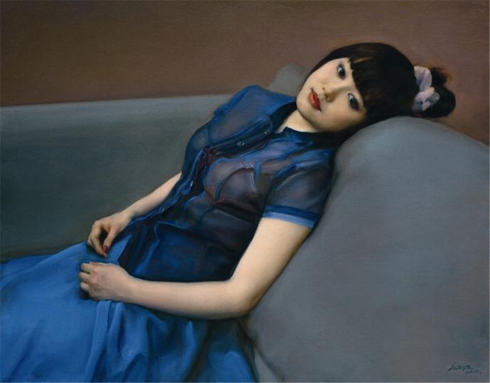 庞茂琨 《蓝衣少女》 91x116cm 布面油画 2010