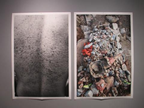 躺在粗糙的砂石上,(右图)自愿者背部留下了明显的印痕(左图)