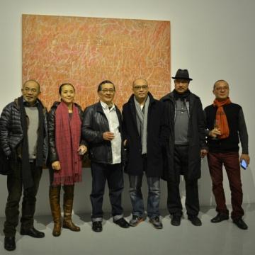 左起:艺术家李新建、艺术家刘虹、艺术家王川、艺术家张晓刚、艺术家叶永青、艺术家杨千
