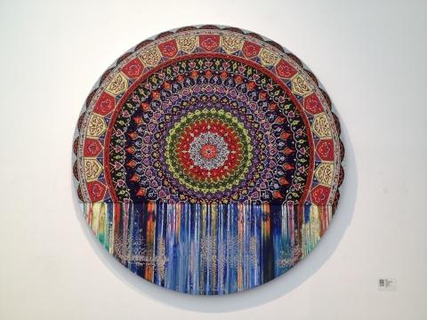 那危 《无题-被挤压者8》 直径180cm 布面油画 2014