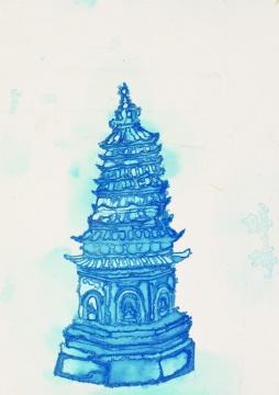 《塔之一》  纸本水墨 47×33.5cm 2013