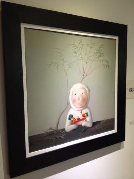 杨媛媛 《铁皮公鸡》 70X70cm 布面油画 2014 以上两位艺术家均由赵凌甲推荐,意在迎合羊年主题