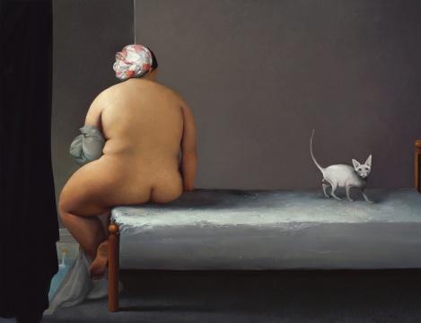杨永生 《坐在冰床上的浴女》 70×100cm 布面油画 2013 彭锋推荐
