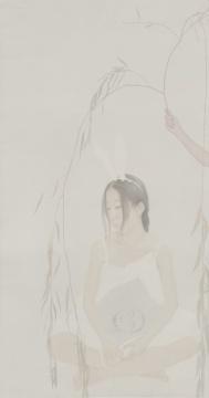 徐华翎 《兔女郎与老鲁》 1081x201cm 绢本 水色 2014