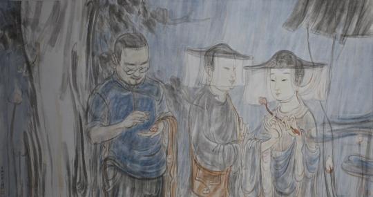 李桐 《莲子》 74.5×143.5cm 纸本设色 2014