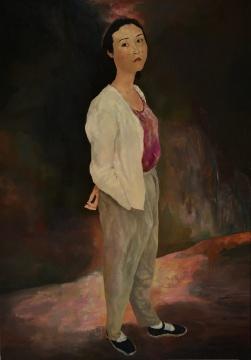 毛焰《古典女子》 布面油画  200×140cm 1994