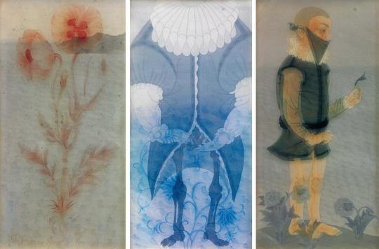 郝量 《科学的世界》100×50cm×3 绢本水墨 2009