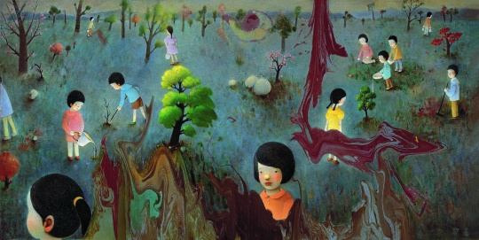 陈可 《植树》180×350cm 布面油画 2010