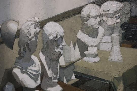 张业兴 《有光的画室》(局部)  220x150cm 布面油画 2013