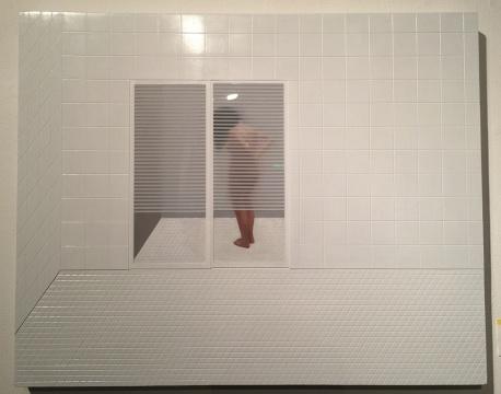 来自广东汕头艺术家黄一山《洗背图》 布面综合材料 100x80cm 2015