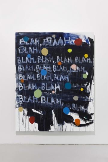 《Mel Bochner + Jerry Zeniuk + Joseph Beuys》 200×160cm 布面丙烯,扬声器 2014