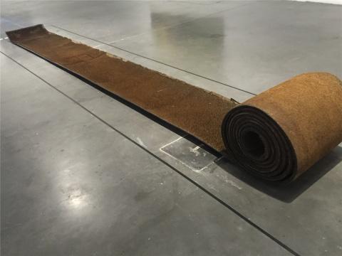隋建国装置《殛》(工业橡胶带、铁钉)